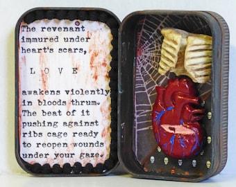 Altoid Tin Shadow Box Shrine - Gothic Love Shrine - Mixed Media Tin Box