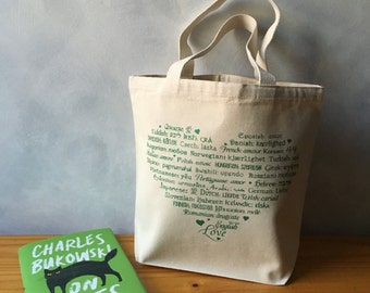 """CLEARANCE ~ LOVE Languages - Green Ink on Natural Essentials Tote Bag  - Cotton Canvas - More info in """"Item Details"""""""