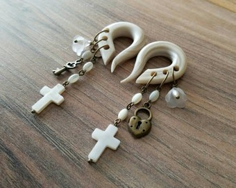 Modonna Charm Gauges with Mother of Pearl Crosses plugs