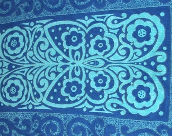 Psychedelic Swirling Blue Beach Towel