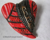 Stripes and Dots Heart Brooch. Red, Black and Gold Design. Romantic Gothic Valentines Day Gift.