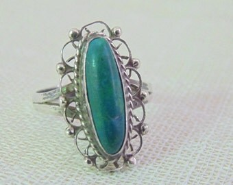 Vintage Southwest Sterling Turquoise Ring Signed Mexico Sterling Jewelry Sterling Ring 925 Jewelry Mexico Ring
