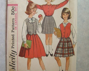 """Vintage 1960's Child's Skirt Blouse and Weskit Pattern - Simplicity 5083 - Size 10 - 28"""" Bust"""