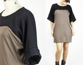 Yoko Tunic dress / Minimalist Double-knit & wool blend kimono style tshirt dress / Sustainable fashion