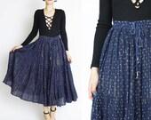 Vintage Indian Gauze Cotton Skirt Drawstring Waist Skirt Navy Blue Full Maxi Skirt Metallic Gold Striped Night Sky Boho Gypsy Skirt (M/L)