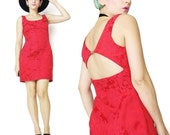 1990s Vintage Cut Out Open Back Dress Red Mini Dress Floral Brocade Dress Valentine's Day Cocktail Dinner Party Dress Petites 90s (XS)