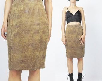 Vintage Suede Leather Skirt 80s 90s Leather Mini Skirt High Waisted Leather Skirt Paneled Leather Pencil Skirt Taupe 1990s Suede Skirt (XS)