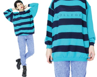 25% OFF SALE 80s COLLEGE Sweater Striped Sweater Teal Blue Navy Knit Sweater Womens Slouchy Sweater Preppy School Pullover Jumper (S/M) E56