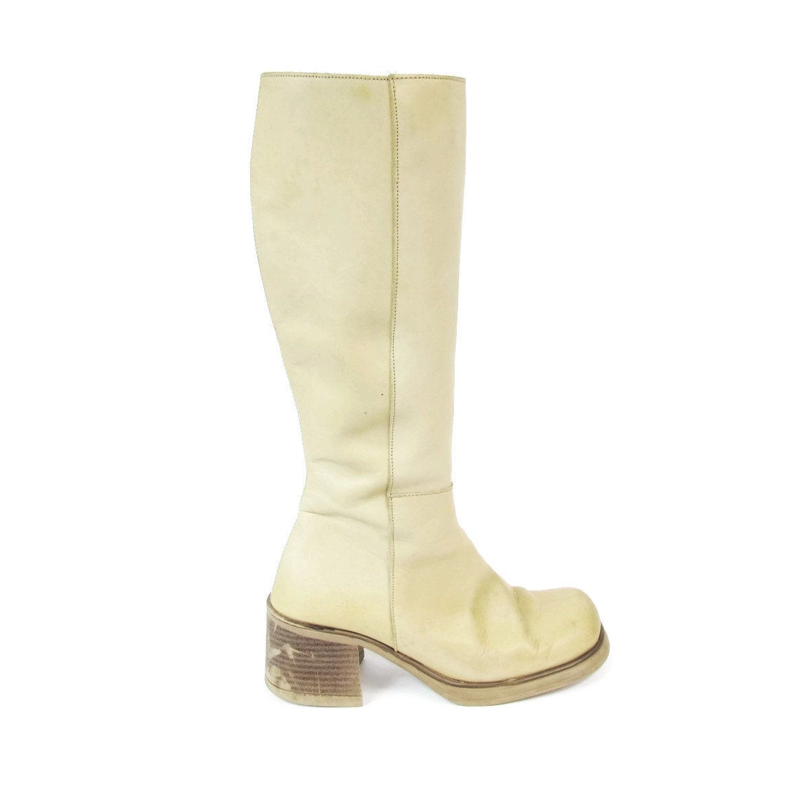 leather knee high boots beige boots 1990s chunky