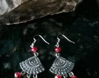 Red Crystal Earrings ,Mothers Day Gift ,Dangle Earrings