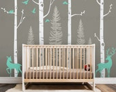 Birch Tree Wall Decal with Birds and Deer, Baby Nursery Wall Stickers, Nursery Wall Decals, Forest with Birds and Deers Stickers W1121