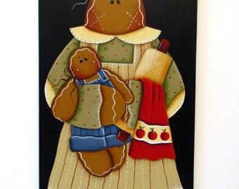Mama Gingerbread  with Baby Sign, Handpainted Wood, Hand Painted Ginger Home Decor, Wall Art, Tole Decorative Painting