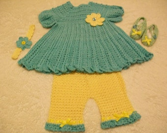 Crocheted Baby Dress, Bloomers,Shoes, Headband 6 to 9 mos