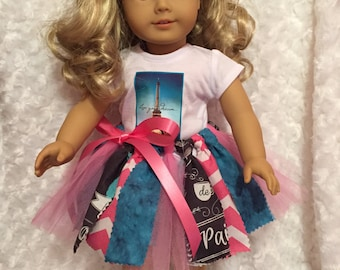 """Doll Clothes Paris Tutu Set / Eiffel Tower Top + Fabric & Tulle Tutu + Shoes Fits 18 inch dolls / Fits 15"""" or 18"""" dolls"""
