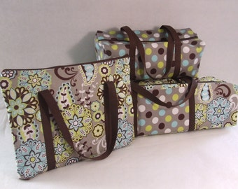 Cricut Explore Carrying Case / Cricut Expression 2 Tote / Laptop Sleeve / Accessory Bag / Combo Set / Paisley, Polka Dot Fabric