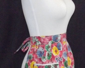 Vintage 1960s Half Apron Abstract Floral Print NWOT Deadstock
