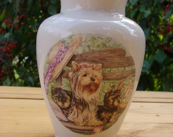 Proud Yorkie with Her Pups! Mid Sized Ceramic Vase
