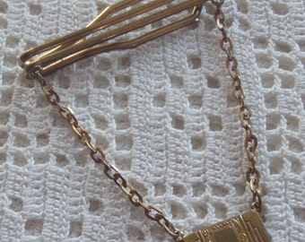 Vintage Tie Bar Dangle Chain with Plaque