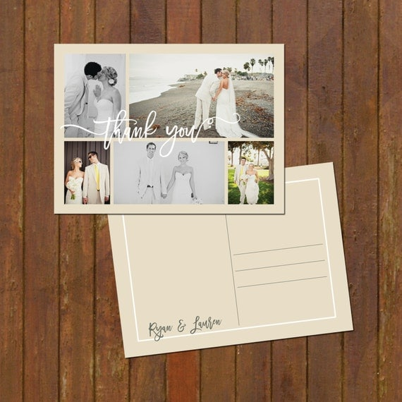 Wedding Thank You Photo Collage Card  or Magnets