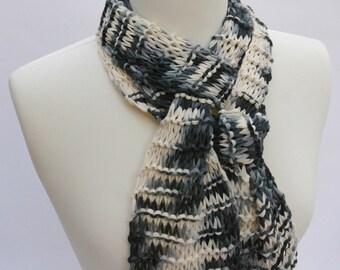 Cotton Scarf, Hand Knit, Black/White/Gray