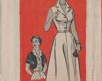 Vintage 50s Mail Order Sewing Pattern / Marian Martin 9053 / Dress And Bolero Jacket / Bust 38