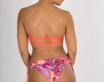 Jaya Shredded Back Bandeau with Cheeky Fringe Bikini Bottoms, LIMITED Edition READY to SHIP