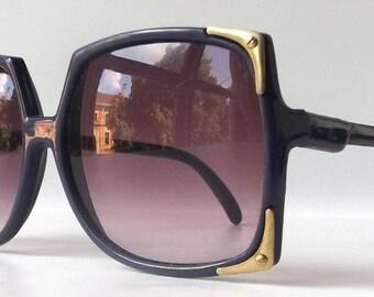 vintage 1980's NOS oversized square sunglasses purple plastic frames lenses sun glasses eyewear accessories modern mens womens brass metal