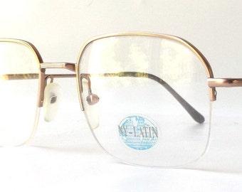 vintage 1990's NOS eyewear eyeglasses gold copper metal frames prescription women men retro eye glasses round square half rim rimless modern
