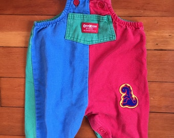 80s OshKosh B'Gosh Primary Colors Overalls w/ Dinosaur Patch size 6 to 9 months