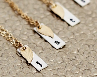 Personalized Bridesmaid Necklace, Gold Leaf, Set of 4, 5, 6, 7, or 8 Gifts, Vertical Bar