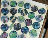 30 Galaxy Stickers, Space Stickers, Nebula Stickers, Star stickers, Eco Journal Stickers Recycled Planner Stickers (38mm) 1 1/2 inch circles