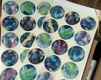 Galaxy Stickers, Space Stickers, Nebula Stickers, Star stickers, Eco Journal Stickers, Recycled Planner Stickers, (38mm) 1 1/2 inch circles