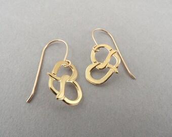 pretzel earrings, pretzel jewelry, Gold Pretzel dangle earrings, food jewelry, pretzels, pretzel charm
