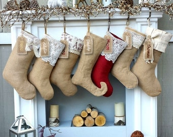 Burlap Lace Linen Christmas Stockings Country Primitive Rustic Decor Personalized Christmas Stocking Embroidered Burlaps Fabric Name Tags