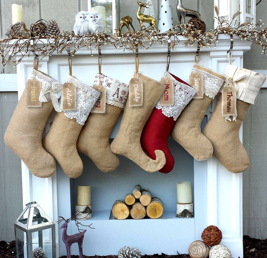 Burlap Lace Linen Christmas Stockings Country Primitive Rustic