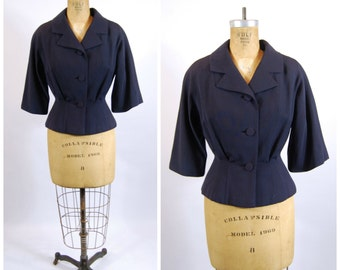 1950s Navy Blue Suit Jacket - Ladies Suit Coat - 50s Fitted Jacket - Fit and Flare