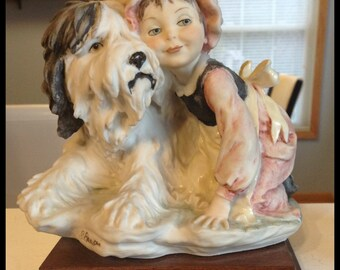 Giuseppe Armani Figurine, Young Girl, Shaggy Sheep Dog, Signed, Very Heavy, 6 lbs. Vintage 1982