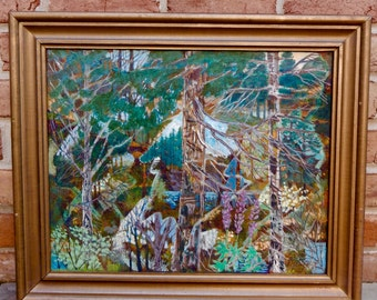 American Abstract Landscape Original Oil Painting Signed Joe Brock-Fischer 1987 Masterful Work of Art Circa 1950s