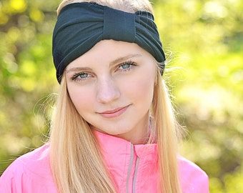 Women Turban Headband Black Jersey Knit Head Wrap Turband Turban Ear Warmer Plain Head Cover Shabby Headwrap Modest Turban (#1501) X