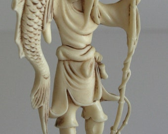 Vintage Plastic Ivory Chinese Fisherman Figurine - Hollywood Regency Chinoiserie