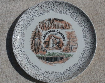 Cathedral Caverns Souvenir Plate, Grant, Alabama - Cave Formations, Gold Trim Vintage Wall Decor