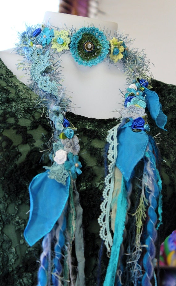 Hair tie Fibre necklace Boho Hippie style headband crochet