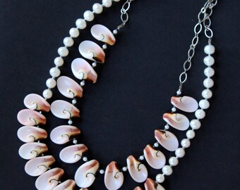 ONE or TWO Pink Shell and Pearl Necklaces Delicate Luahanus Shell Petals and Small Round Pearls Beach Bridal Jewelry