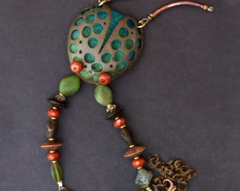 Copper Beetle Pendant Holey Copper Ladybug w Blue Green Needle Felt and Green and Rust Beads on Chain Fun Colorful Metalwork Insect Jewelry