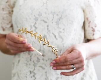 Simple Leaf Vine Headband - Golden Leaves Headband, Crown, Boho, Halo, Bridal, Wedding Hair Accessories