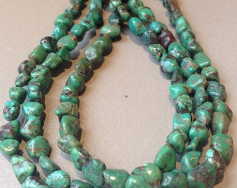 Green Turquoise Nugget Stone Bead Strands