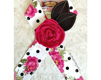 READY TO SHIP Pink and Black Polka Dot Headwrap Floral Headband Tichel Sash Headcover Flower Headwrap Knotted Headwrap Gifts for Her