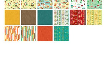 "RUSTY and FRIENDS Layer Cake - Benartex - 10"" Inch Precut Fabric Squares - Fox Fabric - 10 x 10 - Juvenile Woodland Fabric"