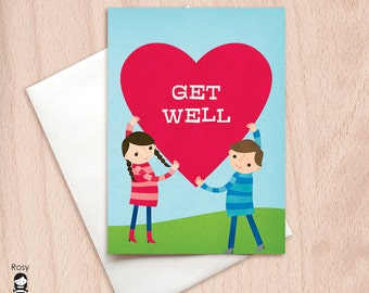 Get Well - Big Heart - Get Well Greeting Card