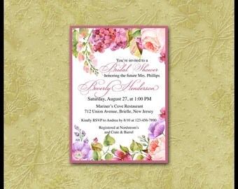 Floral Invitation / All Occasion 5x7 Invite / Birthday,Anniversary,Save-the-Date,Engagement,Bridal Shower,Brunch / Thank You Card / Flowers